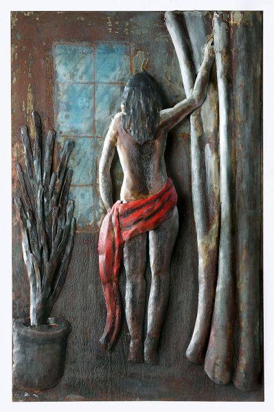 Akt in Rot Metallbild 60 x 80 2,5 cm 3 D Ansicht handarbeit