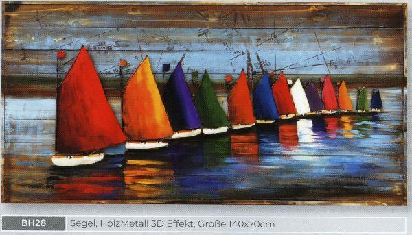 3D Bild Segel,Holz,Metall 140 x 70cm